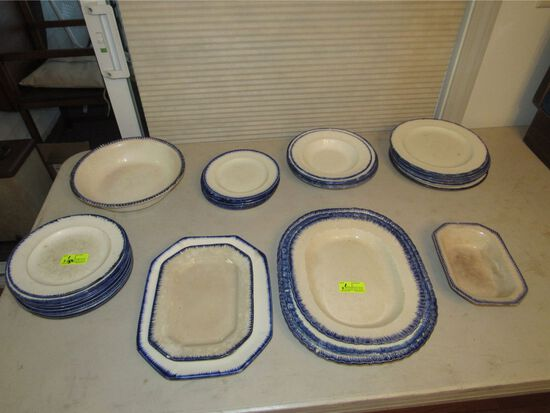 (33) Pcs. of Antique and Vintage Blue Shell Edge Pearlware