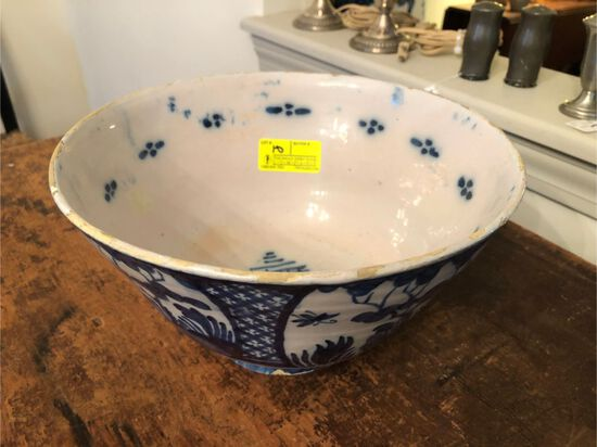 Antique Delft Punch Bowl