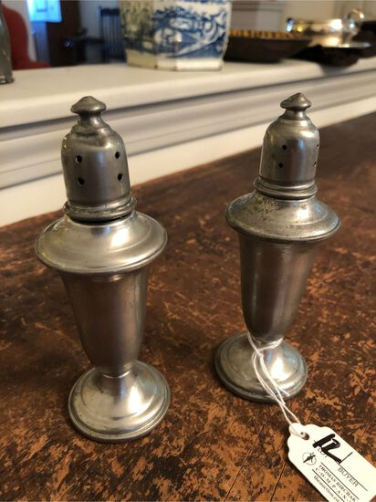 Pair of Vintage Empire Weighted Pewter Shakers
