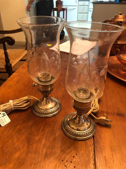 Pair of Weighted Sterling Silver Candle Stick Style Boudoir Lamps