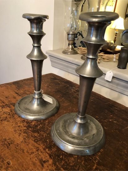 Pair of Antique Pewter Candle Sticks