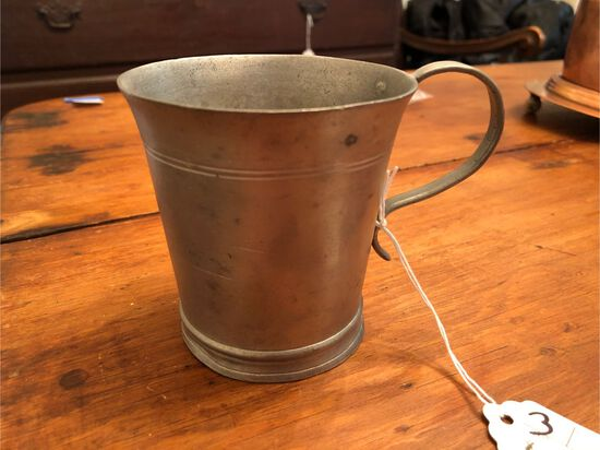 "Handled Pewter Beaker, 3.5"" in height, unsigned"