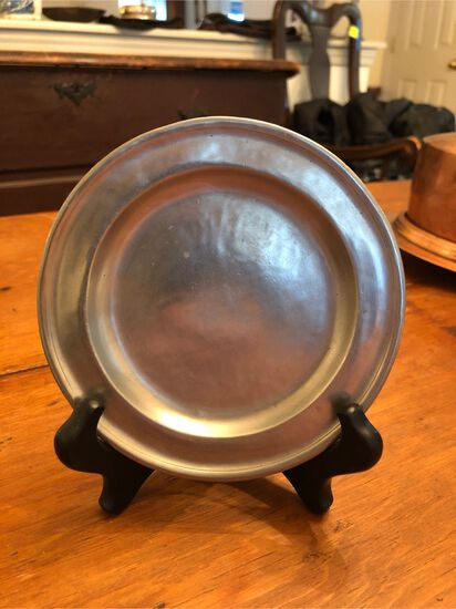 "Vintage Pewter Plate, 5"" in diameter, unsigned"