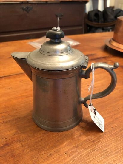 "Vintage Pewter Chocolate Pot, 4.75"" in height, unsigned"