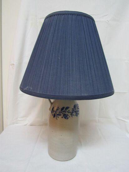 Contemporary Salt Glazed Cobalt Decorated Jug Lamp