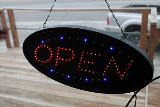 "Lighted ""OPEN"" Signs & String of Holiday Lights"