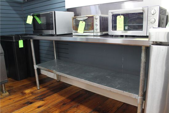 "Stainless Steel Table with under shelf, 72"" X 24"""