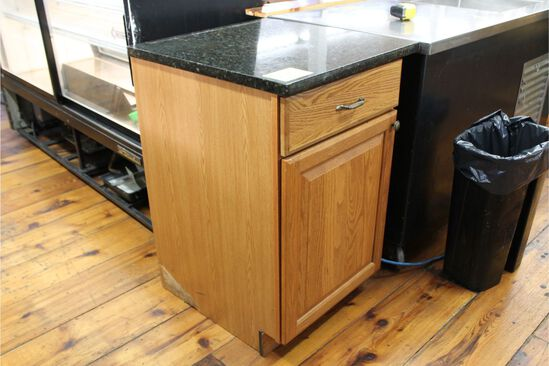 "Oak Base Cabinet with 21"" X 24"" Granite Top"