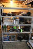 Shelf of Assorted Pots, Pans, Cookware, Etc.