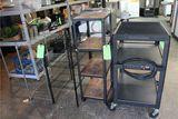 (2) Wire Racks; AV Cart & Roll Around Steel Shelf Cart