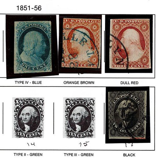 (4) 1851-57 US Stamps