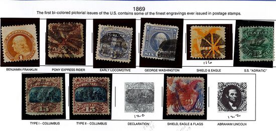 (9) 1869 US Stamps