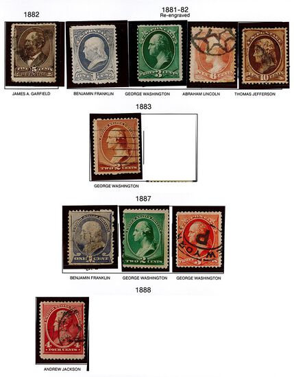 (10) 1881-82, 1887 & 1888 US Stamps