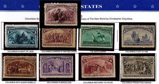 (9) 1893 Columbian Commemorative US Stamps