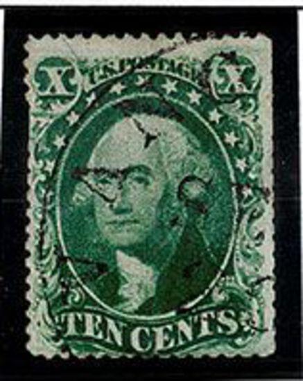 1857-61 10c Washington Green US Stamp