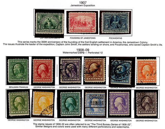 (15) 1907, 1908-09 US Stamps
