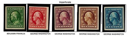 (5) 1908-09 US Stamps