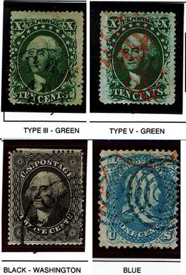 (4) 1857-61 US Stamps