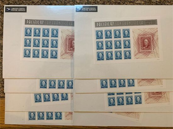 (8) 1997 Pacific $.50 Ben Franklin Commemorative Sheets
