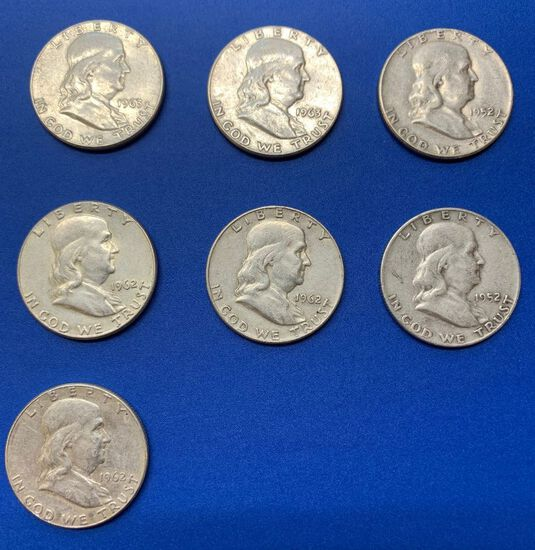 (7) Franklin Silver Half Dollars