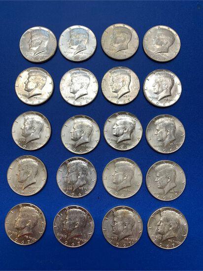 (20) Kennedy Silver Clad Half Dollars