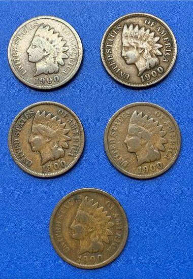 (5) 1900 Indian Head 1c
