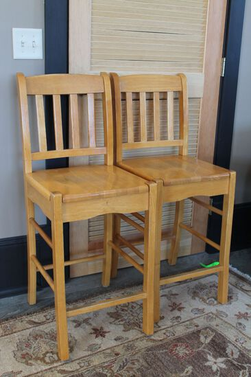 (4) Hardwood Bar Stools