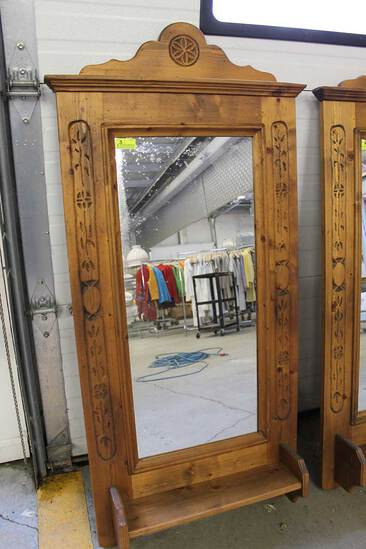 Pine-Framed Mirror w/ Shelf