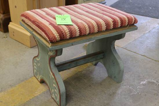 Painted Pine Padded Foot Stool
