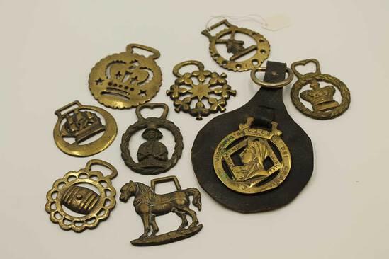 (9) Vintage Brass Bridle Rosettes
