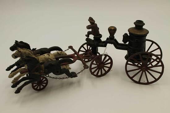 Antique Cast Iron Horse-Drawn Fire Engine