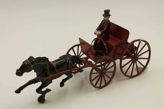 Vintage Tin & Cast Metal Horse-Drawn Buggy