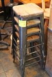 (5) Steel Bar Stools w/ Wood Top