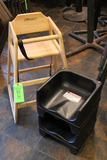 (2) Poly Boosters & Hardwood High Chair