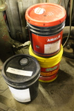 (3) Partial 5 Gallon Drums of Hydraulic Oil, Dex III, Transmission Oil