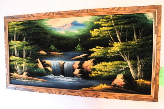 Velvet Art Waterfall & Mountain Scene