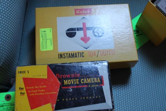 Kodak Brownie 8MM Movie Camera & Kodak Instamatic 104/Outfit