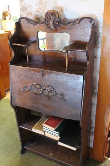 Oak Bookcase Secretary w/ Beveled Mirror