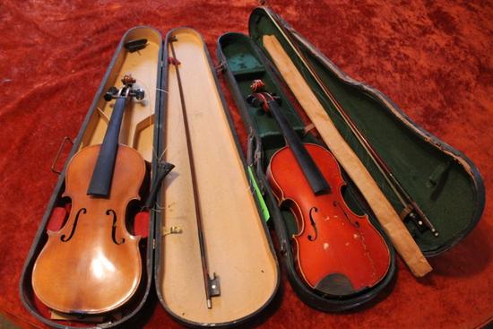 (2) Violins w/ cases