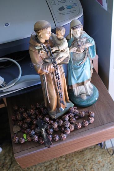 Mary & Joseph Figurines W/ Wood Rosary Beads