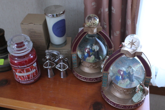 (2) Religious Musical Snow Globes & Candles