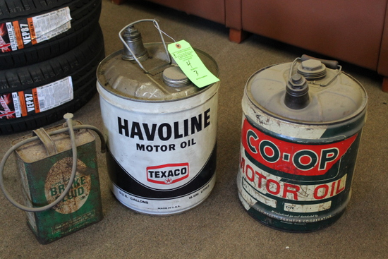 (3) Vintage Oil & Brake Fluid Cans