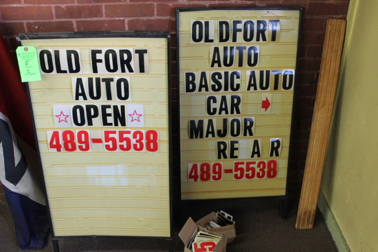 (2) Sandwich Board Signs w/ Letter & Number Boxes