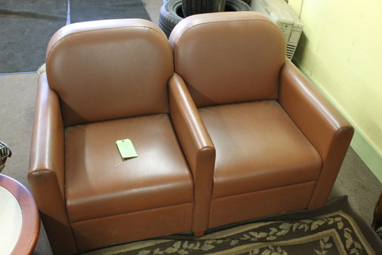 Brown Vinyl Double Reception Chair Set