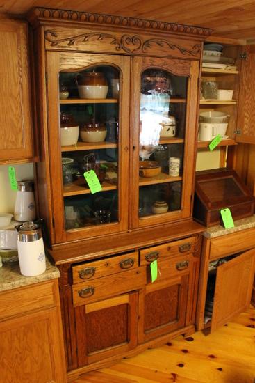 Antique Oak Kitchen Step-Back Cabinet