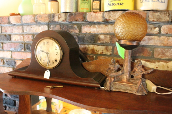Sessions Mantel Clock & Pot Metal Table Lamp