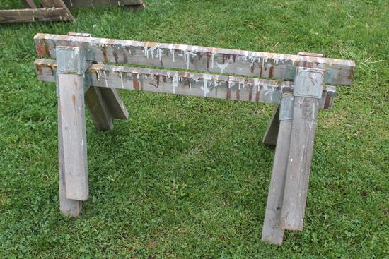 (2) Wood Sawhorses