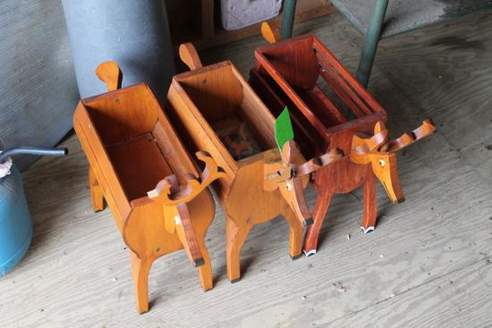 (3) Wood Magazine Racks