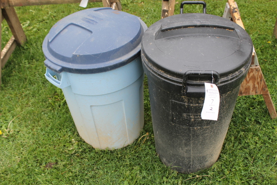 (2) Poly Garbage Cans