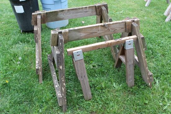 (3) Wood Sawhorses